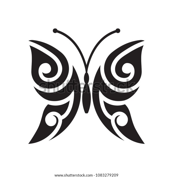 bdbaacbf9658e Black and white stylized butterfly logo element. Isolated ornamental  butterfly design for tattoo, sticker