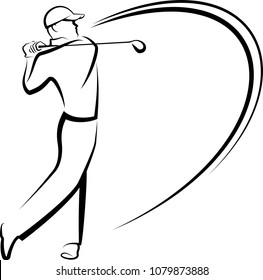A black and white stylized illustration of a golfer teeing off.