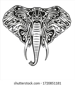 Black and white stylized image of a muzzle of a elephant for tattoo and other.