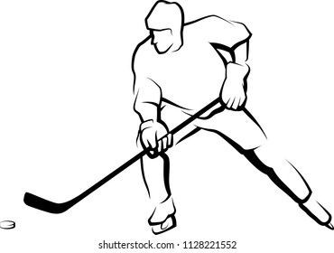 Black and white stylized line drawing of an ice hockey player skating with the puck.