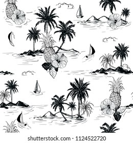 Black and white summer Island hawaiian mood hibiscus flower,plam trees ,ships,coconut tree ,wave in hand drawn style seamless pattern vector for fashion , fabric and all prints on white background.