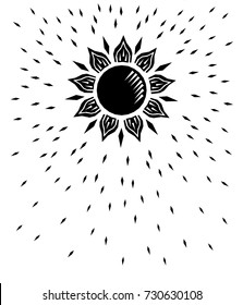 Black and white sun woodcut retro engraving, vector