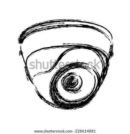 Black White Surveillance Camera Cctv Warning Stock Vector Royalty