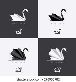 Black and white swan logos in abstract geometric polygonal style. Origami look for corporate visual identity
