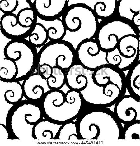 Black White Swirl Pattern Stock Vector Royalty Free 445481410