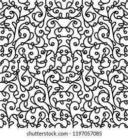 Black and white swirly background, vector scrollwork pattern, abstract seamless ornament