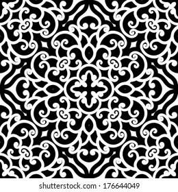 Black and white swirly ornament, vector seamless pattern