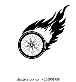 Black and white symbol of a burning bicycle wheel