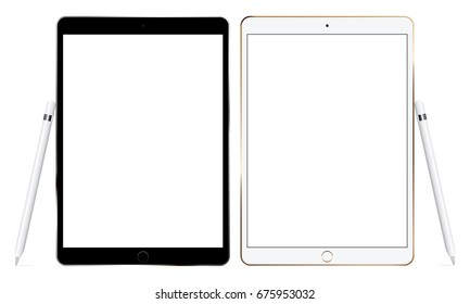 Black and white tablet computers iPad Pro mockups with Smart Pencil isolated. Responsive blank screens to display your mobile web site design. Vector illustration