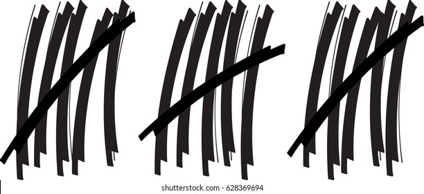 Black and white tally stroke counting marks