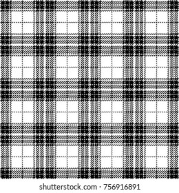 Black and White Tartan Plaid. Scottish Woven Seamless Pattern