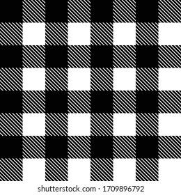 Black White Tartan scotland seamless plaid pattern