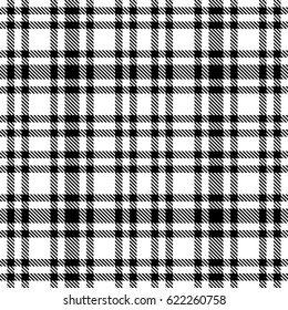 Black and white tartan seamless vector pattern. Checkered plaid texture. Geometrical simple square background for fabric, textile, cloth, clothing, shirts, shorts, dress, blanket, wrapping design