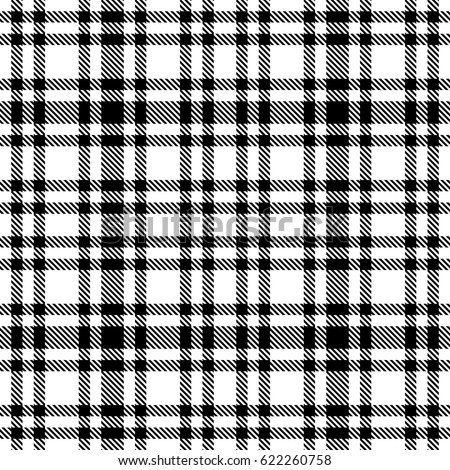 Black White Tartan Seamless Vector Pattern Stock Vector Royalty