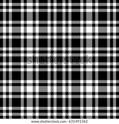 Black White Tartan Seamless Vector Pattern Stock Vektorgrafik