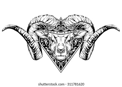 Black and white tattoo of a ram head in crown. Vector illustration
