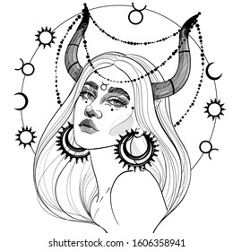 black and white Taurus girl with  horns and precious jewelry