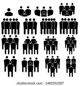 Black and white team pictogram