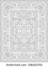 Black and white template for carpet, textile. Oriental floral pattern with frame.