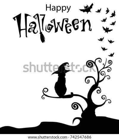 black white template cat witch hat stock vector royalty free