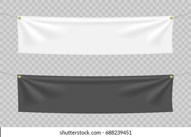 Black and white textile banners with folds. Blank hanging fabric mockup set. Graphic design elements for advertising, web site, flyers, posters, sale announcement. Empty template. Vector illustration