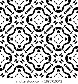 Black and white texture. Abstract seamless geometric pattern.