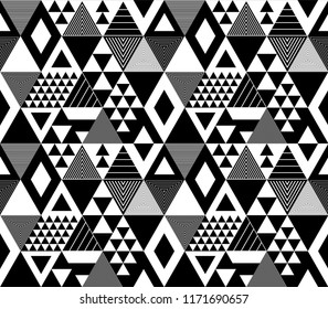 Black and white textured bold triangles geometric abstract seamless pattern, vector