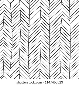 Black and white textured chevron ornament geometric abstract seamless pattern, vector