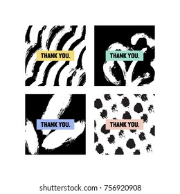 Black and white Thank You cards with different patterns