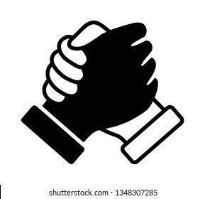 Black and white thumb clasp handshake or homie handshake flat vector icon