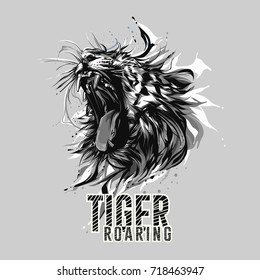Black White Tiger Roaring Head