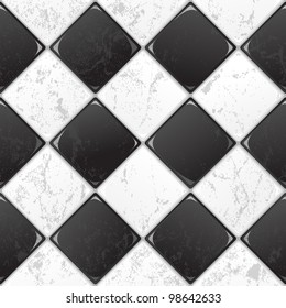 Black And White tile seamless background in grunge style. EPS 10 vector.