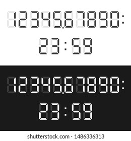 Black and white time or calculator digital display font set isolated. Numbers, colon and dot or point characters. Flat design. EPS 8 vector illustration, no transparency, no gradients