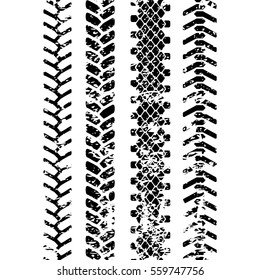 Black and white tire tread protector track grunge seamless pattern, vector set