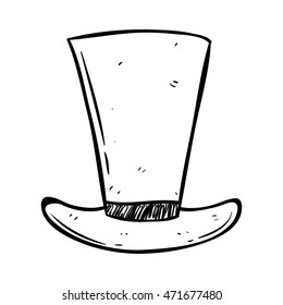 Black and white top hat using doodle art