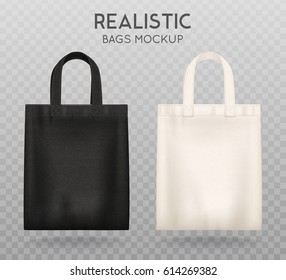 1e898612 Black and white tote shopping bags realistic corporate identity mock-up  items template transparent background