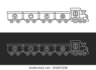 Black and white toy train. Set of outline vector illustrations