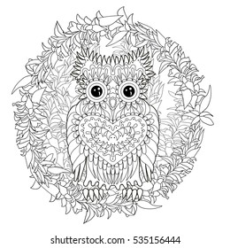 Black White Tracery Doodle Of The Owl For Art Therapy Sketch Tattoo Poster