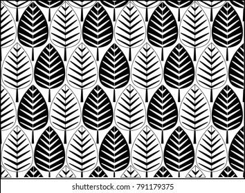 Black and white tree pattern background.- Illustration Pattern, Decor, Plant, Textile, Tile