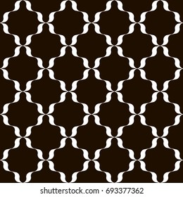 Black and white trellis background. Monochrome lattice pattern with wavy ribbons. Modern print for interior or fashion surface design. Vector seamless repeat.