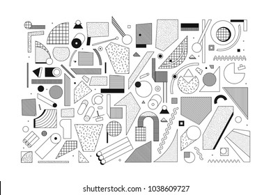Black and white Trend Neo Memphis geometric pattern set juxtaposed with bright bold blocks of color zig zags, squiggles, erratic images. Design background elements composition. Magazine, leaflet, bill