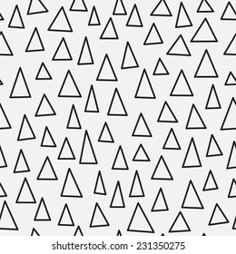 Black and white triangle geometric seamless pattern. Hand drawn abstract simple ornament. Vector illustration