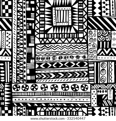 Black And White Tribal African Seamless Pattern Libyan Abstract Geometric Print Ethnic Hipster Backdrop