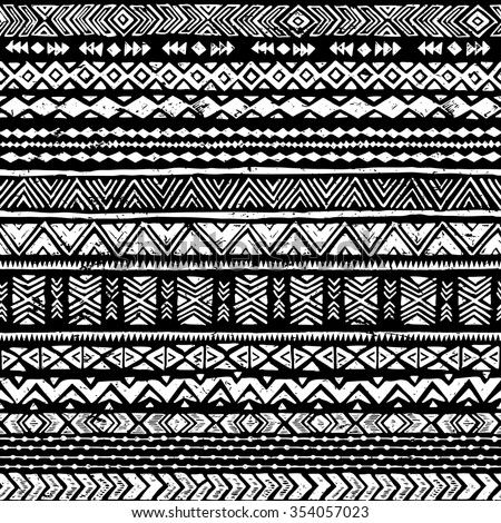 Black And White Tribal Doodle Seamless Pattern Aztec Grunge Abstract Geometric Art Print Ethnic