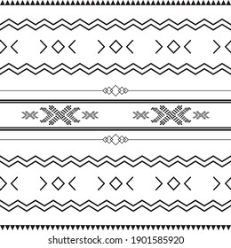 Black and white tribal ethnic pattern with geometric elements, traditional African mud cloth, tribal design. fabric or home wallpaper design