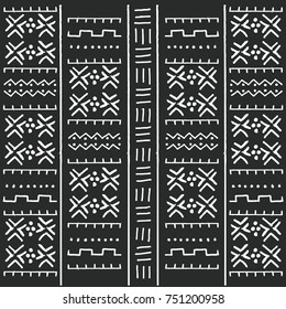 Black and white tribal ethnic pattern with geometric elements, traditional African mud cloth, tribal design, vector illustration