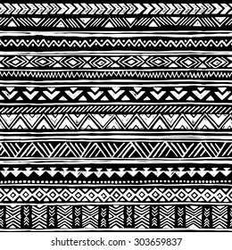 black and white tribal Navajo seamless pattern. aztec geometric print. ethnic hipster backdrop. hand drawn