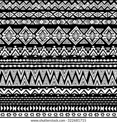 Black And White Tribal Navajo Seamless Pattern Aztec Abstract Geometric Print Ethnic Hipster Backdrop