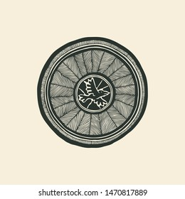Black and white tribal round decorative symbol. Ethnic ornamental hand drawn backdrop. Vector illustration.