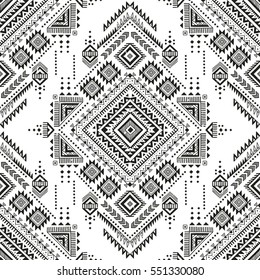 black and white tribal vector seamless pattern with doodle elements. aztec fancy abstract geometric art print. ethnic hipster background. hand drawn.  Wallpaper, cloth design, fabric, paper, textile.